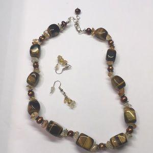 Tiger Eye & Citrine Bead Necklace w/ Earrings Set